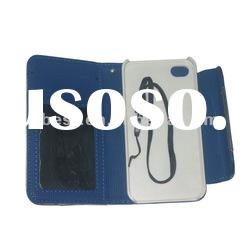 Wave Point Card Holder Wallet Leather Case For iPhone 4G 4S