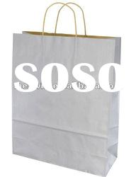 White kraft shopping paper bag without print