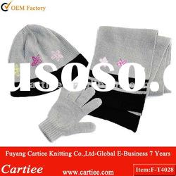 Winter Fashion Knitted Scarf Hat Glove Sets