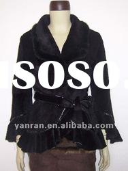 YR-681 mink & sheared rabbit fashion fur jacket with belt