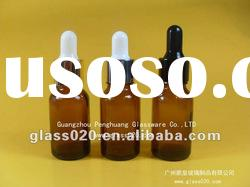 amber essential oil bottle with different rubber stopper