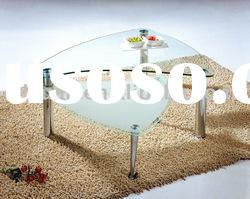 beautiful design clear white glass coffee table with wheel