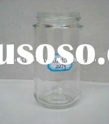 cylinder clear glass honey jar in 400ml with deep cap