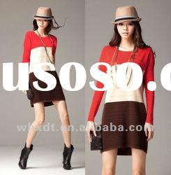 fashionable color block dress knitting long sleeve