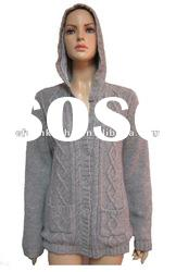 ladies cable knit hooded cardigan
