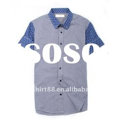 latest contrast color 100% cotton short sleeve casual shirt for men