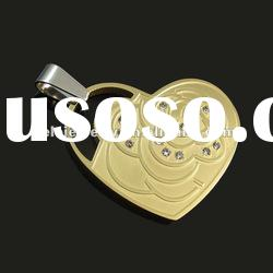 latest fashion stainless steel heart pendant jewelry with butterfly design