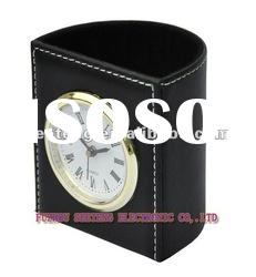 promotional pen holder leather clock