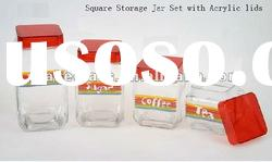 square shaped glass storage jar with acrylic lid