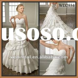 2012 Elegant White Satin Multi Layer Skirt Wedding Gown