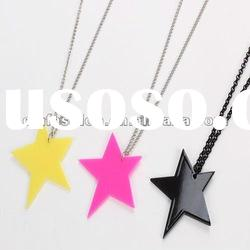 2012 star acrylic pendant necklace neon necklace