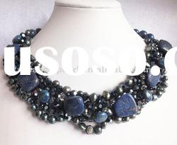 Amazing dark blue Lapis Lazuli hand made necklace wedding jewelry party necklace holiday gift