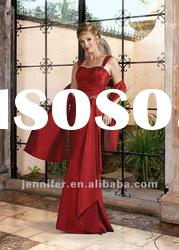 Attractive red floor length strap mother bride dress (ABB134)