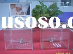 Clear Acrylic Donation Box with a Lock;Clear Acrylic Charity Box;Clear Acrylic Collection Box