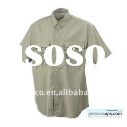 Cotton twill shirt with short sleeve, latest style cotton twill shirt for man