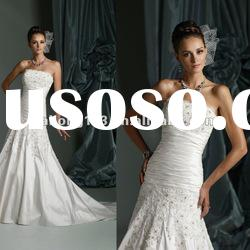 Designer Strapless Lace Beaded Crystal Mermaid Wedding Gown