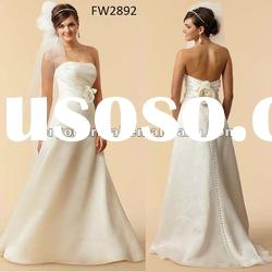 FW2892 Strapless Organza Floor Length Simple Wedding Gown
