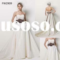 FW2909 Taffeta Strapless Wedding Dress With Open Back