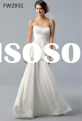 FW2931 Strapless Floor Length Empire Wedding Dress Chiffon