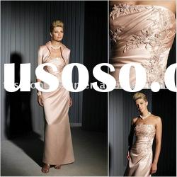 HLM00112 Elegant lace appliqued with draped strapless floor length with jacket mother dress