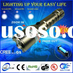 High Quality Magnet Control CREE Q5 Aluminum Zoom LED Flashlight Torch