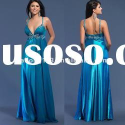 High quality Spaghetti Strap Embroidery Satin Prom Gown
