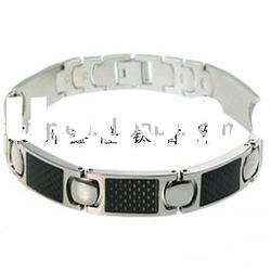 New Bio Magnetic Fashion Titanium/stainless steel bracelet with black carbon fibre