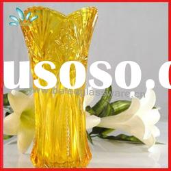 New design yellow crystal art glass vase color can be designed