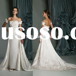 Off-shoulder Appliqued Beaded Flower Lace A-line Stunning Wedding Gown