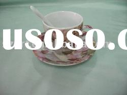 SY033-S round porcelain coffee cup and saucer