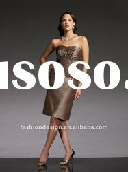 VO 279 Hot selling strapless appliques satin knee-length mother of bride dress