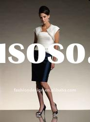 VO 288 Hot selling strapless beaded satin with jacket knee-length mother of bride dress
