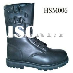 army widely used black steel toe cap military combat boots with rubber sole