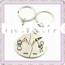 comic fashion design metal alloy keychain keyring for lovers