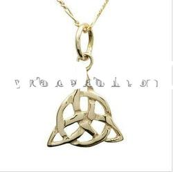 fantastically handcrafted gold trinity knot pendent