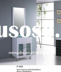 glass basin woth four chrome legs,free standing and mirrored PVC bathroom cabinet