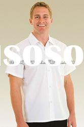 men's white cotton short sleeve shirts with Twill fabric