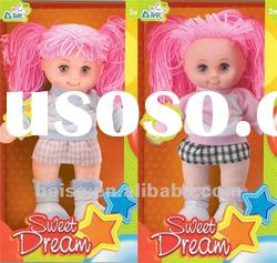 stuffed plush soft safe baby doll with plastic face toys