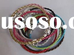 19-22cm can make , 3mm Braided Leather cord bracelet fit lampwork murano charm jewelry