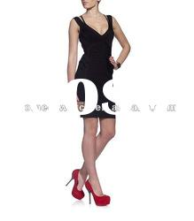 2012 Black Lady V Neck Prom Gowns,Bandage Dress,Party Evening Dress with Strap on Neck DH130