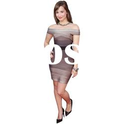 2012 Coffee Lady Fashion Evening Dress,Party Dress with Cross Strap off shoulder DH001Z