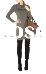 2012 Grey High Neck Knitted Wool Dress with Long Sleeves Fashion Lady Gowns Prom Dresses KM201
