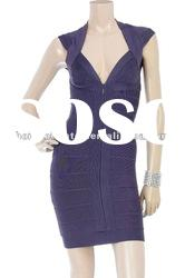 2012 Purple Pretty V Neck Dress Fashion Gowns Lady Party Dress DH061