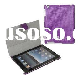 Carbon Fiber Flip Slim Leather Case for iPad 2 with Side Opening Design