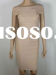 Formal Evening Dress,Khaki Round Neck Short Sleeves Bandage Dress H055