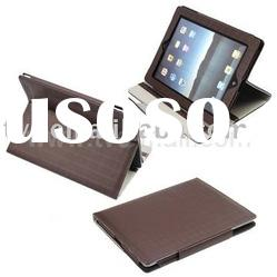 Grid Pattern Leather Skin Case with Built-in Stand & Magnetic Fastener Design for iPad 2