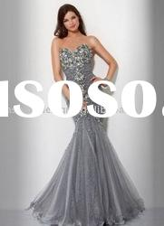 HLE00178 2011 Fantastic sweetheart bodice fully big crystals tulle mermaid Evening dress