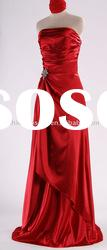 SHE088 Latest style strapless red imitated silk evening Dress