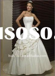 Satin Strapless Chapel Train Imperial Bridal Gown