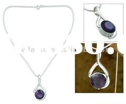 Silver Plated Purple Crystal Alloy Pendant,Fashion Love Charm Pendant Jewelry,Women Costume Jewelry